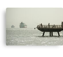 fishing in the bay Canvas Print