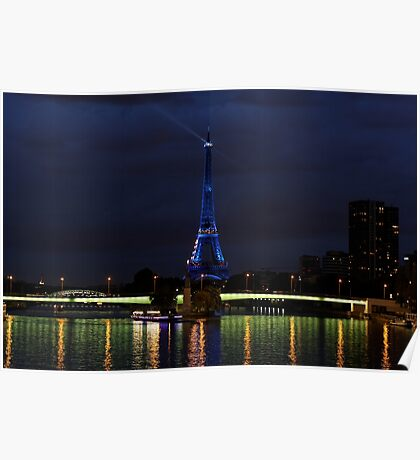 Blue Eiffel Tower from Pont Mirabeau Poster