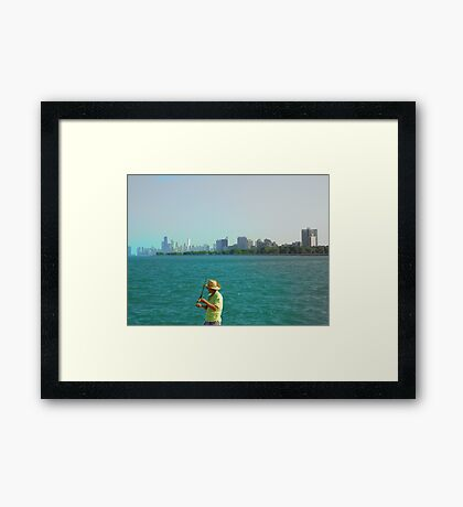 Fishin' @ the Lake Michigan  Framed Print