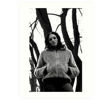 Beautiful dark girl in the forest. Art Print