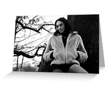 Beautiful brunette girl posing in the forest. Greeting Card