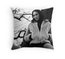 Beautiful brunette girl posing in the forest. Throw Pillow
