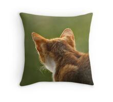 Red cat hunting. Throw Pillow