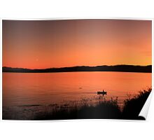 Boat ride at sunset Poster
