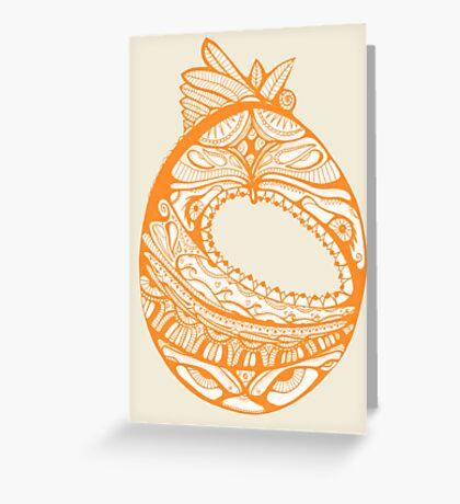 Orange Faberge Egg Henna Greeting Card