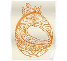 Orange Faberge Egg Henna Poster