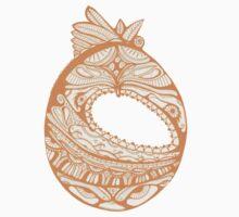 Orange Faberge Egg Henna One Piece - Short Sleeve
