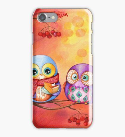 Thanksgiving Owls with Pumpkin Pie iPhone Case/Skin