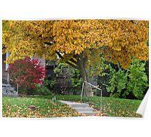 Autumn sidewalk Poster