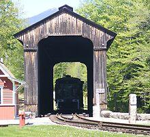 Steam Train on the covered bridge by JBTHEMILKER