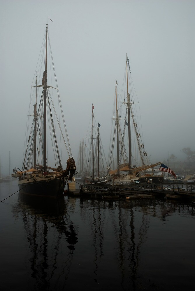 Fog Schooners Silhouettes And Reflections Camden Maine by MarkEmmerson