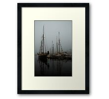 Fog Schooners Silhouettes And Reflections Camden Maine Framed Print
