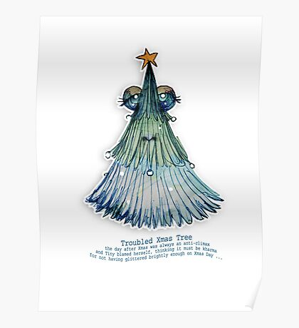 Little Profiles Troubled Xmas Tree Poster