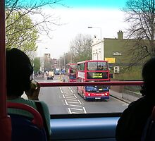 in a double decker bus by sharon wingard