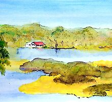 Red Roofed House by the Lake by Sue H