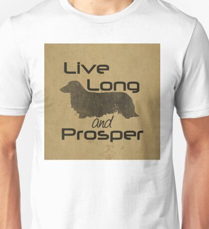 Live Long and Prosper Dachshund, Long, Longhair, Coat, Hair, Trekkie, Star Trek, Dog, Silhouette  Unisex T-Shirt