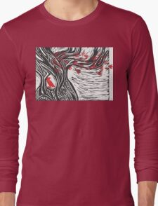 Wisdom of Trees - Red Raven Long Sleeve T-Shirt