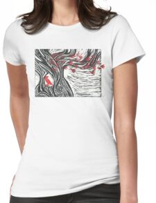 Wisdom of Trees - Red Raven Womens Fitted T-Shirt