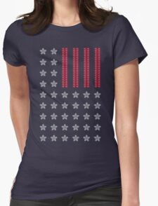 Diamond Stars and Ruby Stripes Flag Womens Fitted T-Shirt