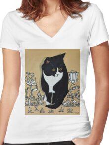 Tuxedo Cat... Women's Fitted V-Neck T-Shirt