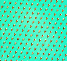 Cool and Trendy Pizza Pattern in Super Acid green / turquoise / blue by badbugs