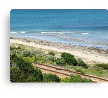 Tracks And Sea Canvas Print