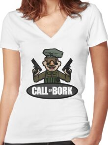 Call of Bork Women's Fitted V-Neck T-Shirt