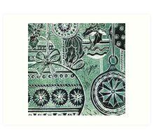 Xmas Baubles 5 -  Gelli Plate Print and Ink Art Print