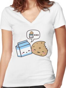 Milk and Cookies Women's Fitted V-Neck T-Shirt