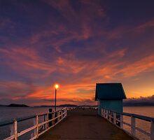 Orange Wharf Dusk by Ken Wright