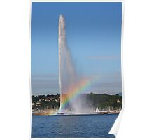 Jet d'Eau, with a rainbow. Poster