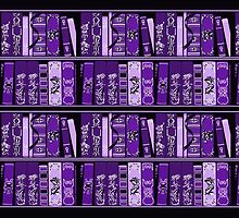 Purple Book Shelves Vintage Books Pattern by HavenDesign