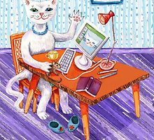 Elegant Miss Kitty at her computer by didielicious