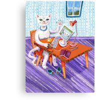 Elegant Miss Kitty at her computer Canvas Print