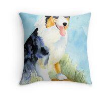 Australian Shepherd Dog Portrait Throw Pillow