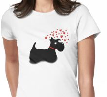 Scottie Dog 'Love Hearts' Womens Fitted T-Shirt