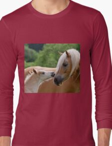 Haflinger mare and foal cuddling Long Sleeve T-Shirt