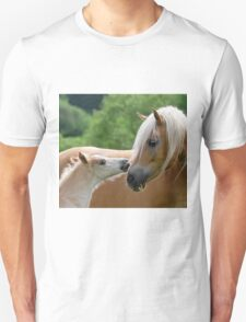 Haflinger mare and foal cuddling Unisex T-Shirt