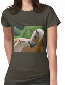 Haflinger mare and foal cuddling Womens Fitted T-Shirt