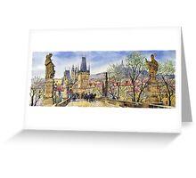 Prague Charles Bridge Spring Greeting Card