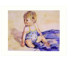 Girls at the beach, watercolor on yupo paper Art Print