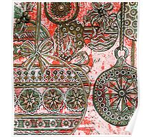 Xmas Baubles 10 -  Gelli Plate Print and Ink Poster