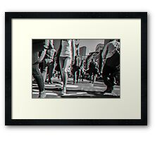 Crowd walking in Manhattan in 3D Framed Print