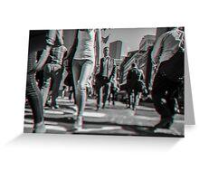 Crowd walking in Manhattan in 3D Greeting Card
