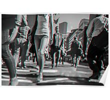 Crowd walking in Manhattan in 3D Poster