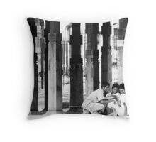 Boys at the temple Throw Pillow