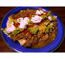 Homemade Beef Burrito Smothered with Green Verde Sauce Photographic Print