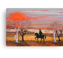 """""""Ned Kelly & the Scary Emu"""" Original Painting Won the Peoples Choice award in Fremantle Exhibition. Original Sold Canvas Print"""