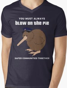 You Must Always Blow On The Pie - Police Kiwi (White Text) Mens V-Neck T-Shirt