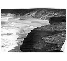 Scattered rocks so close to the edge - South Cape National Park Poster